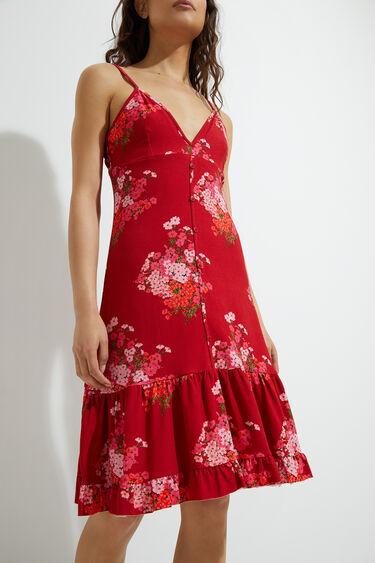 Rozkloszowana sukienka średniej długości z falbanką | Desigual