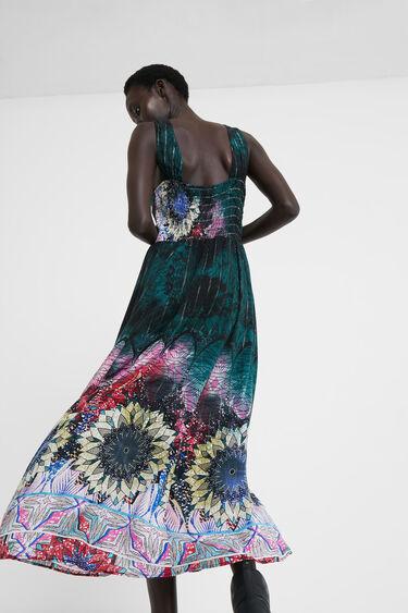 Robe longue imprimé rayures lurex | Desigual