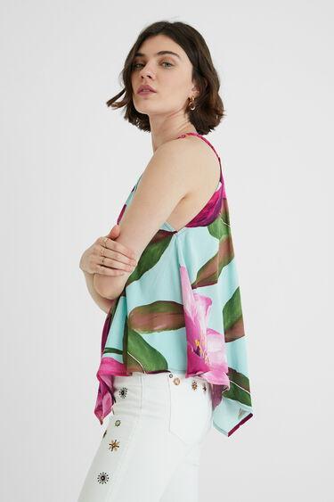 Blusa cuello halter tropical | Desigual