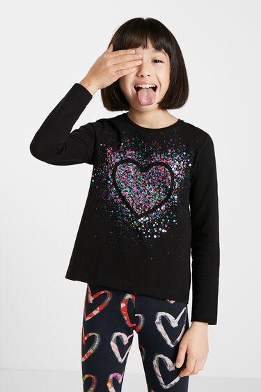 T-shirt heart sequins   Desigual