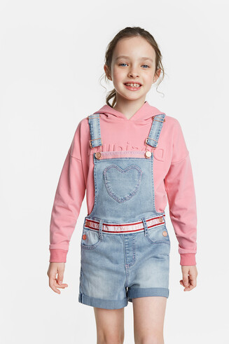 Short denim overall with heart