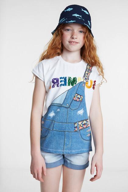 T-shirt met optische illusie van spijkertuinbroek