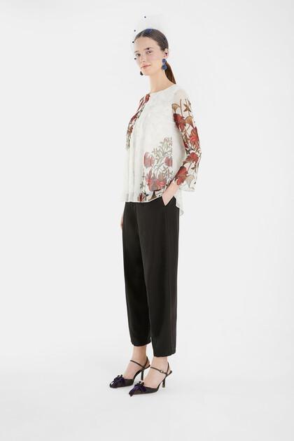 Flounced T-shirt floral
