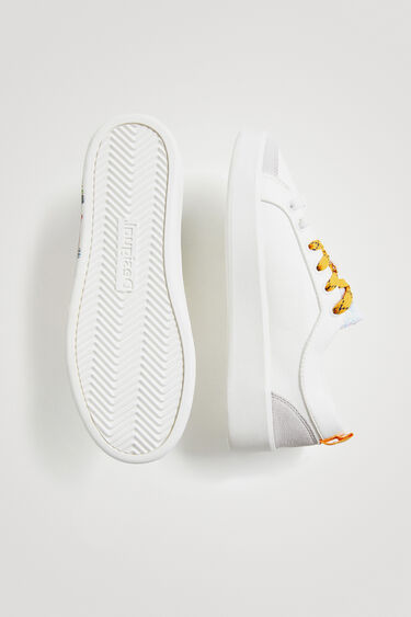 Sneakers in Lederoptik Stickerei Pailletten | Desigual