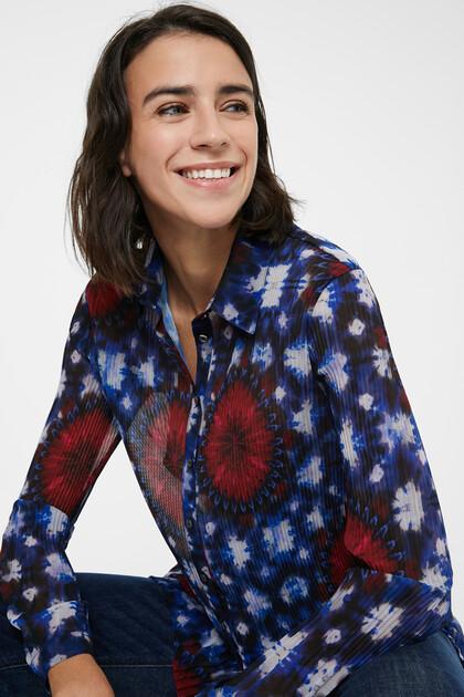 Pleated tie dye print shirt