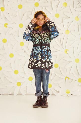 Jacke mit Blumenprint, Reißverschluss und Gürtel