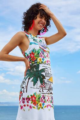 Slim White Tropical Dress Anna