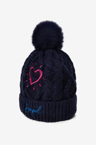 Wełniana czapka z pomponem