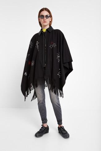 Fringe jacket poncho