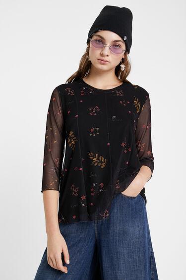 Camiseta flores mangas tul | Desigual