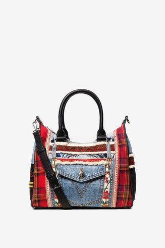 Patches red and denim shoulder bag