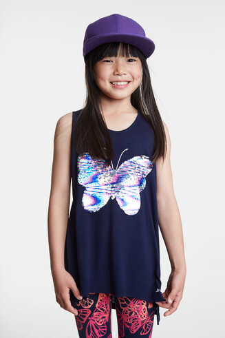 Butterfly T-shirt in reversible sequins