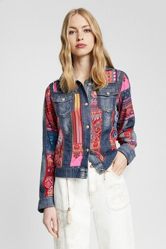 Boho patch denim jacket