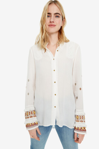 White Shirt with Boho Cuffs Iman
