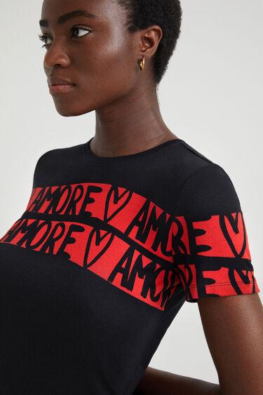 Fijngebreid T-shirt met lettering   Desigual