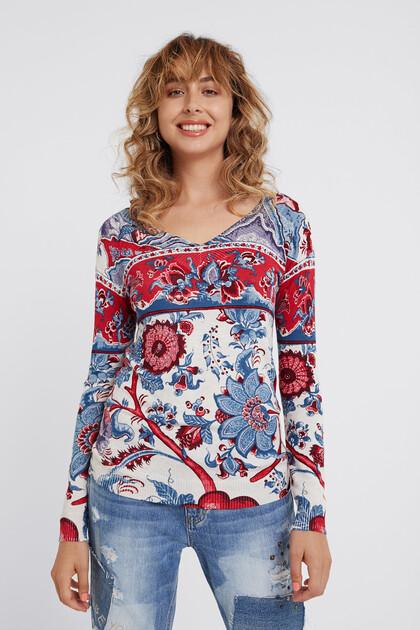Floral knit jumper