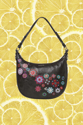 Black half-moon bag embroidered mandalas