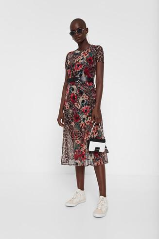 Midi dress floral and animal print