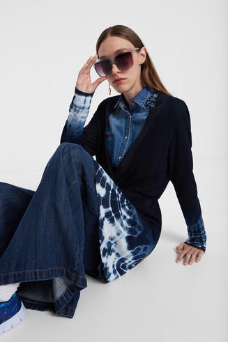 Camisola-casaco de malha tie-dye