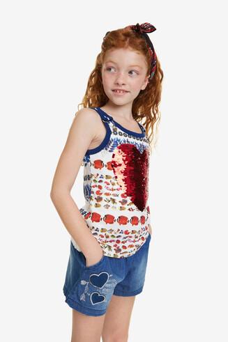 Camiseta corazón reversible Summer