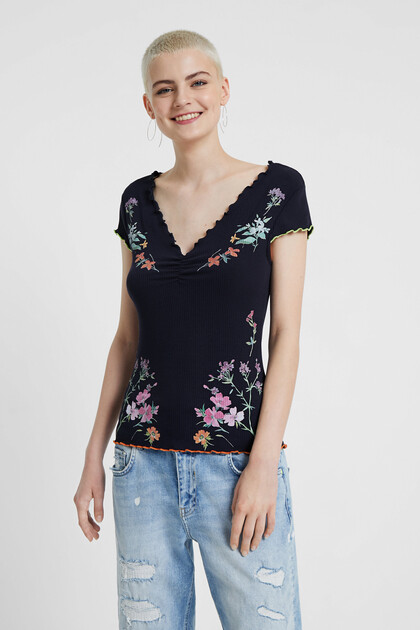 T-shirt fleuri côtelé