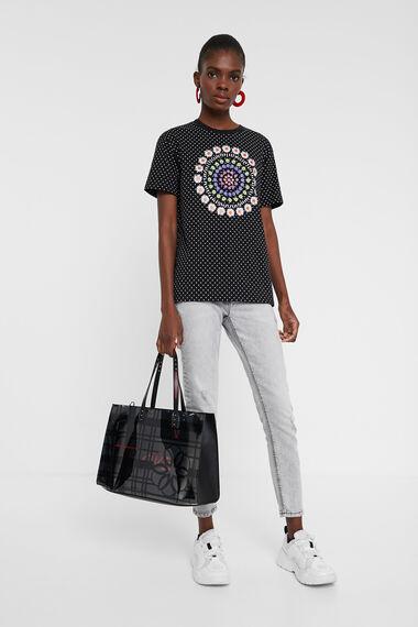 T-shirt à pois et mandala