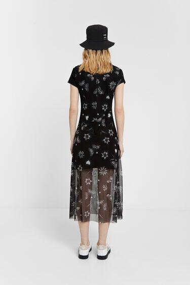 Vestido dupla camada de tule com mensagem | Desigual