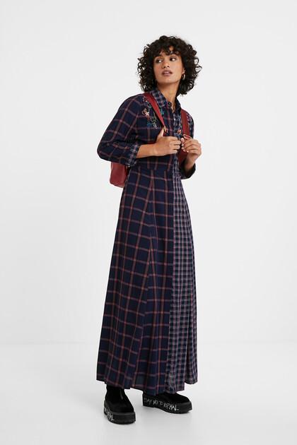 Vestido camisero largo tartán