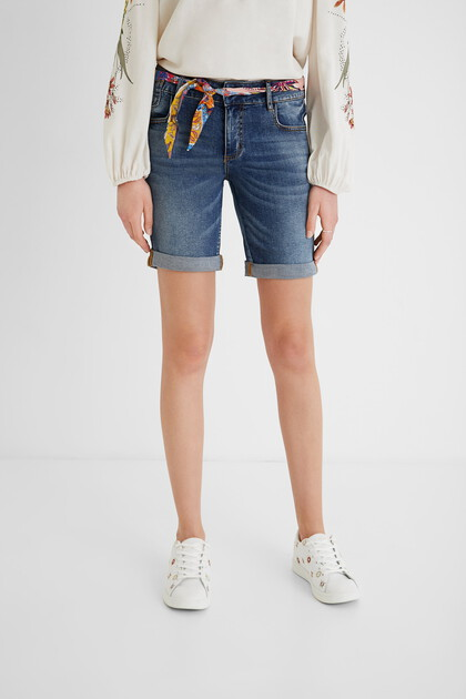 Denim shorts with fabric belt