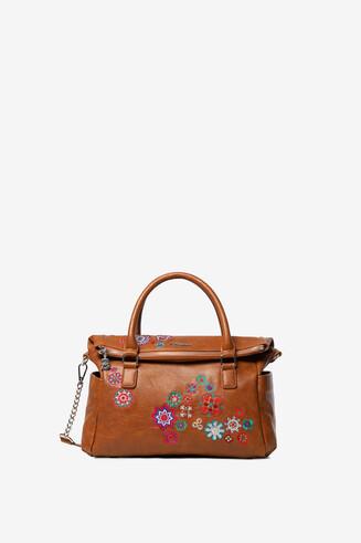 Camel briefcase bag embroidered