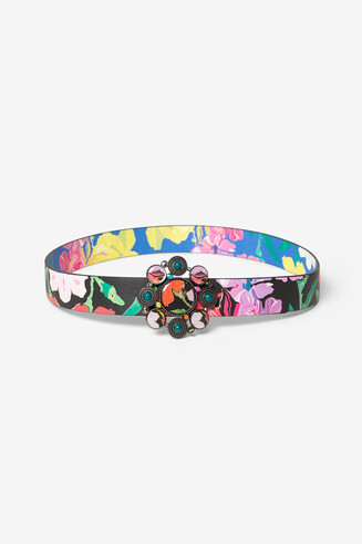 Double floral reversible belt