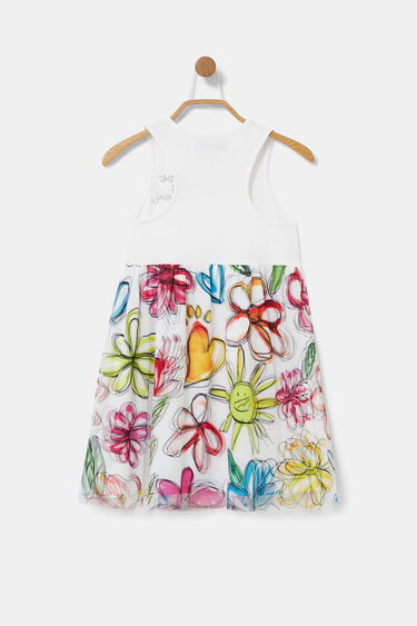 Short bimaterial dress racerback | Desigual