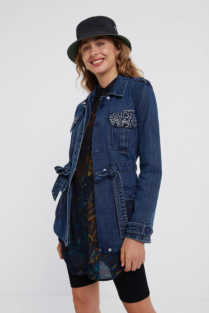 Tricot denim parka