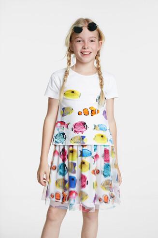 Sukienka w ryby z tiulowym dołem