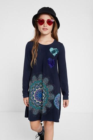 Kleid mit galaktischen Mandalas und Wendepailletten