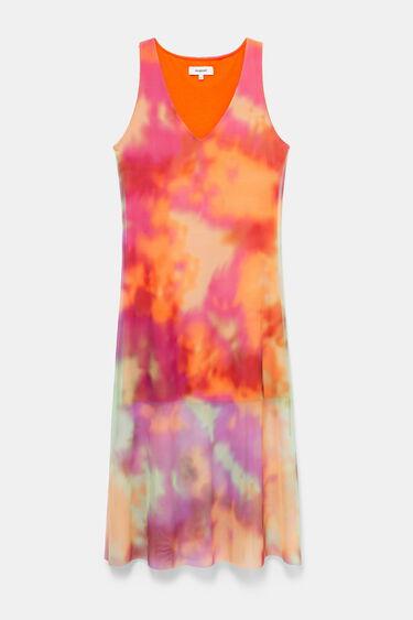 Tie-dye double layer flared dress | Desigual