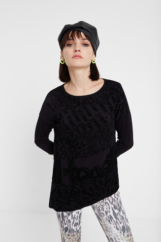 Asymmetric T-shirt 3/4 sleeve