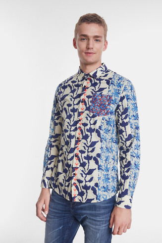 Organic shirt with floral lines