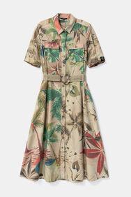 Safari-Kleid aus Tencel™ mit blumiger Camouflage | Desigual