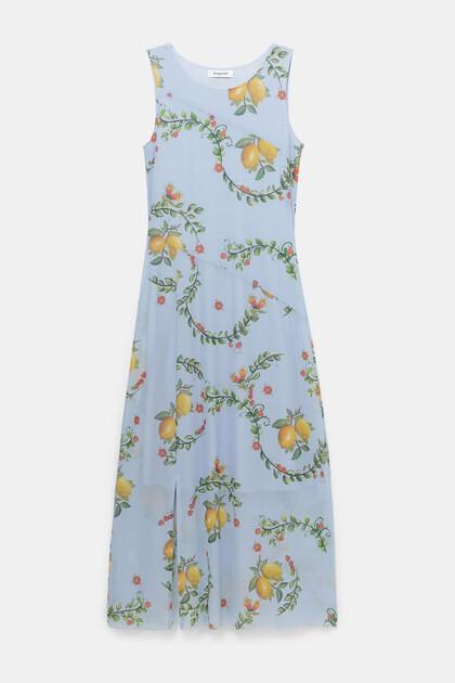 Lange wijd uitlopende jurk met zijsplit