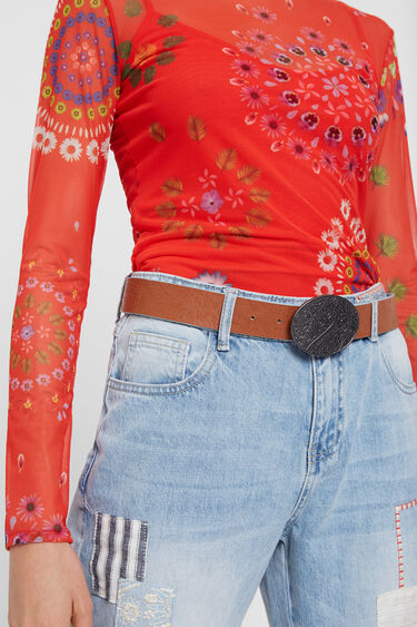 Reversible ethnic and floral belt | Desigual