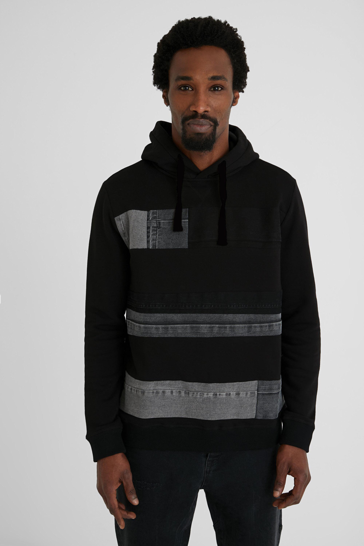 Sweat-shirt coton ouaté patchs en jean - BLACK - S - Desigual - Modalova
