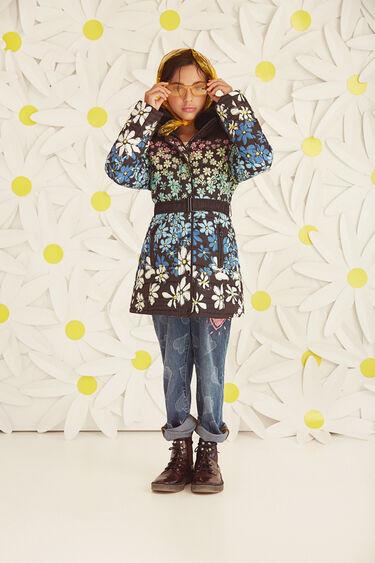 Floral jacket zipper with belt   Desigual