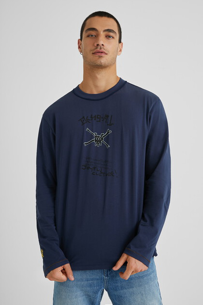 Katoenen T-shirt met versierde voorkant