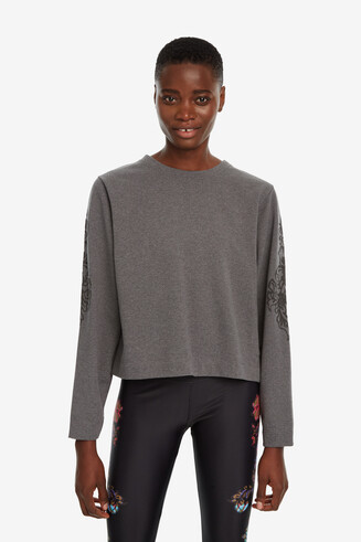 Patch sleeves cotton sweatshirt