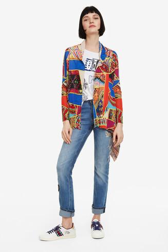 Gebreid vest met patchwork Okayama