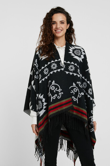 Ethnic reversible square poncho