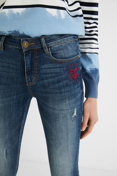 Skinny jeans met hart | Desigual