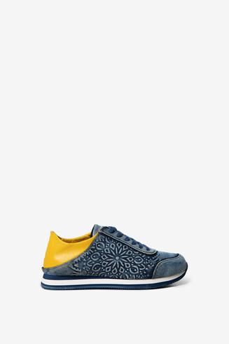 Convertible denim sneakers with mandala