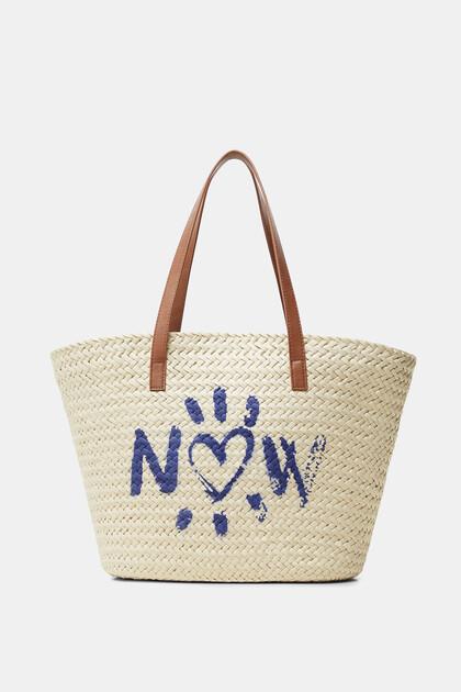 Printed basket tote bag